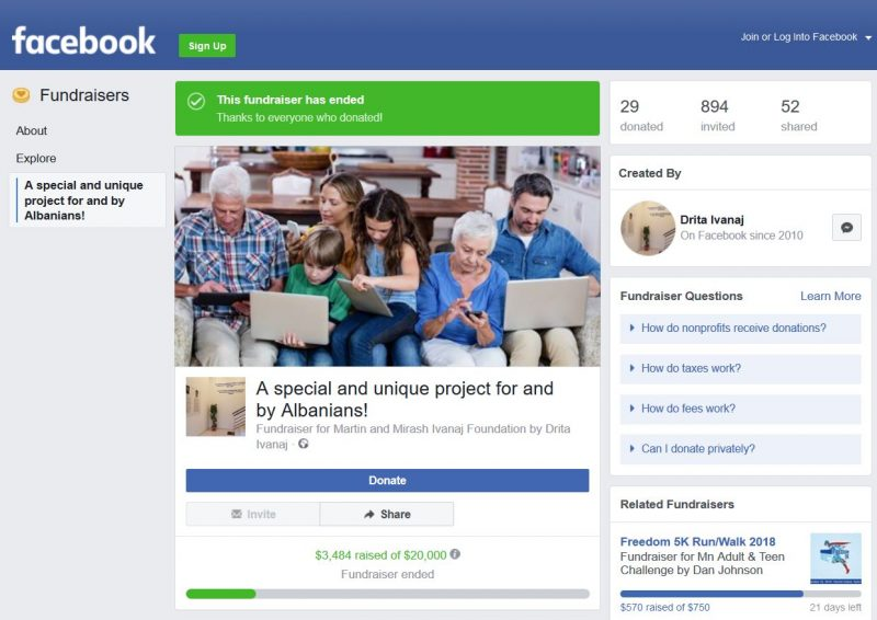 Facebook Fundraising page